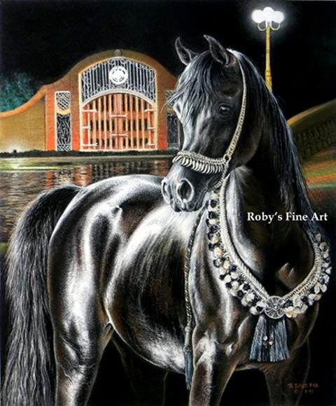 Pastel Arabian Mare Horse Painting Horse Art
