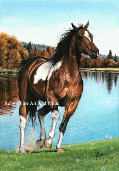 Pastel Pinto Horse Painting  Horse Art Print by Roby Baer