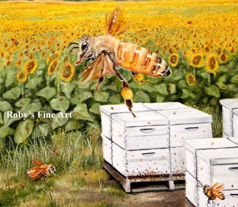 Oil Honeybee Painting - Bee Boxes and Church by Roby Baer PSA