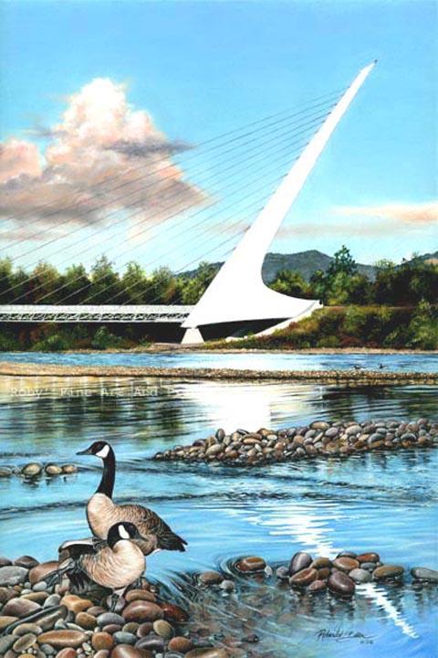 Pastel Sundial Bridge Painting Calatrava Redding
