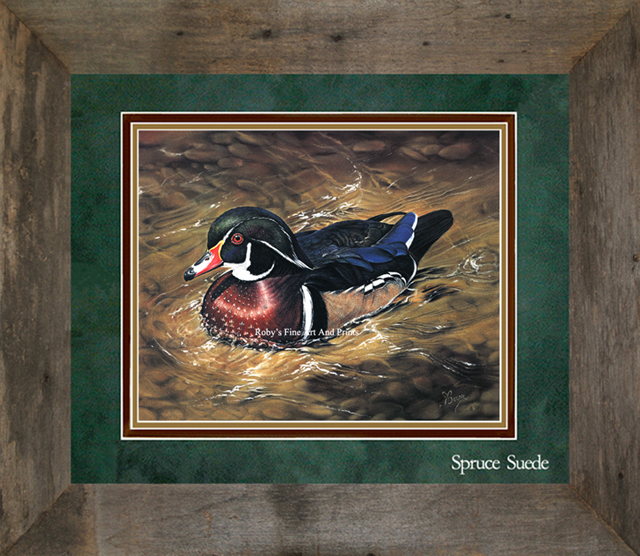 Pastel Wood Duck Drake Painting. Wildlife Art by Roby Baer
